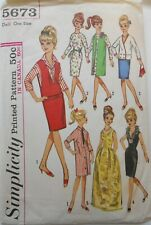 "Vintage Simplicity Pattern #5673 Barbie Fashion 11 1/2"" Doll Clothes Wardrobe"