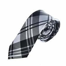 Black And White Tartan Stripes Skinny Tie