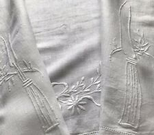 Antique Carver Runner Carving Knife & Fork Embroidered Mountmellick White Linen