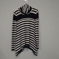 Joan Vass women's striped turtleneck tunic with uneven hem size medium