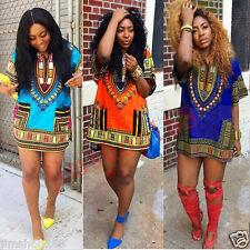 Fashion Women African Dashiki Party Hippie Mini Dress Short Sleeve Sundress Top