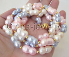 "N8703-30"" 11-15mm white blue pink multicolor baroque freshwater pearl necklace"