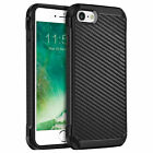 For iPhone 13 12 11/Pro/Max/XS/XR/X/8/7 Carbon Fiber Hard Case+Tempered Glass