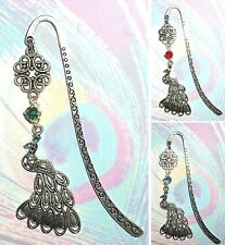 PEACOCK Bookmark Book Mark Pendant Silver Bird Feather Rhinestone Peafowl Peahen