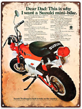 1971 Suzuki Mini-Bike minibike Ad Mancave Repro Metal Sign 9 x 12 60362