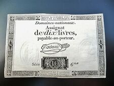 assignat de 10 LIVRES 1792  série 6