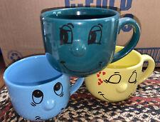 3 Pc Livingware Collection Smiley Funny Face Ceramic Bowls 3D vintage Euc
