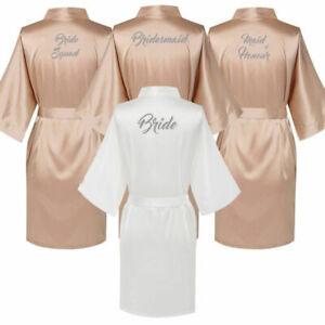 Champagne Bride Wedding Personalised Satin Silk imono Robe Bridesmaid Gown