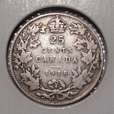1918 Canada 25 Cents Sterling Silver Coin , Fine , King George V