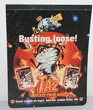 Taz Looney Tunes Sega Genesis Store Display Sign Promo Promotional Vintage