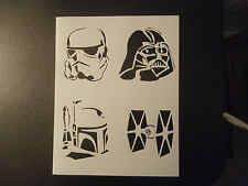 "Star Wars Bad Guys Darth Vader Boba Fett 8.5"" x 11"" Stencil FAST FREE SHIPPING"