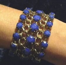 Royal blue and gold coloured 4 row cuff bracelet costume Jewellery 7""