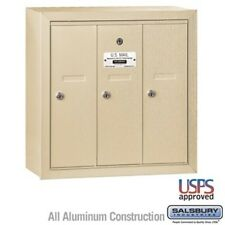 Salsbury Vertical Mailbox 3 Doors Sandstone Surface Mounted 3503SSU Mailbox NEW