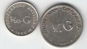 Niederlande - 1/10 Gulden 1966 Ndl. Antillen, 1/4 Gulden 1944 D Curacao - Silber