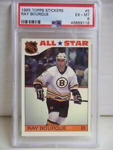 1985 Topps Stickers Ray Bourque PSA EX-MT 6 Card #5 NHL HOF Boston Bruins
