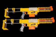 (x 2) NERF Recon CS-6 Yellow Dart Guns Accessories Lot Shoulder Stocks & Clips