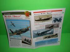 """MITSUBISHI KI-21 """"SALLY"""" AIRCRAFT FACTS CARD AIRPLANE BOOK 114"""