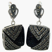 Fashion Blue Goldstone Square Beads Marcasite 925 sterling silver Earrings