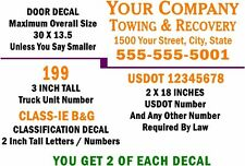STANDARD  TOW TRUCK LETTERING DECAL KIT - FREE SHIPPING