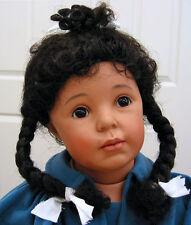 LUCINDA Dk Brown DOLL WIG sz 13-14 for ethnic dolls, long braids/curly tendrils