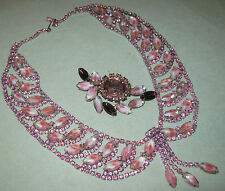 STUNNING Signed ALICE CAVINESS ART GLASS WIDE SWAG NECKLACE & Married Set BROOCH