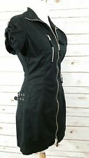 Totally 80's Vintage Guess Sz 7 Black Mini Dress Full Zipper Buckles - Biker