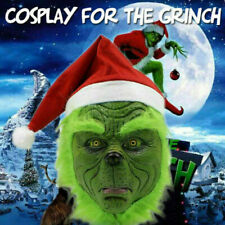 The Grinch Full Head Latex Mask Wig And Xmas Hat Monster Costume Holloween
