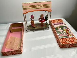 VINTAGE JAPAN MECHANICAL MARIONETTE THEATER WIND UP TOY W/BOX 1930'S INCREDIBLE