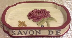 French Floral Bathroom Soap Dish Beautiful Hand Painted New