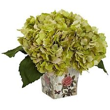 Nearly Natural 1373-GR Hydrangea Silk Arrangement with Floral Planter NEW