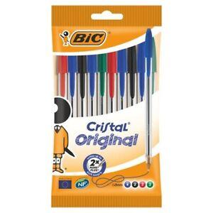 10 BIC Cristal Original Ballpoint Pens Medium Point (1.0 mm) - Assorted Colours