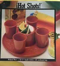 WielandWare Tequila  Shot Glass Set - 4 Tequila Shooters with Condiment Tray
