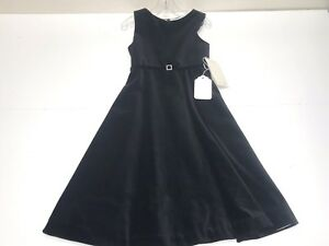 Helena New Girls SLEEVELESS VELVET DRESS w/ RHINESTONE BELT Sz: 5 RTL: $259 P481