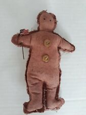 """Vtg 6.5"""" Handmade Stuffed Sewn Gingerbread Holding American Flag Signed Karen A2"""