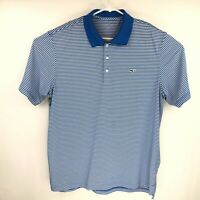 Vineyard Vines Mens Blue Striped Short Sleeve Polo Shirt Size XL