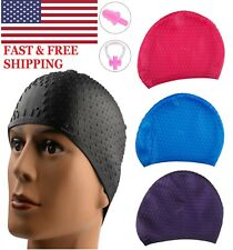 Silicone Swimming Cap Solid Color Long Hair Clean Swim Pool For Adult & Kids
