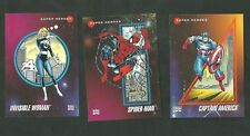 Set Of 3 1992 Impel Marvel Comic Super Hero Cards Captain America Spider Man