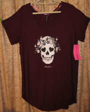Betsey Johnson soft, stretchy cabernet skull & butterfly tee,Plus size 3X