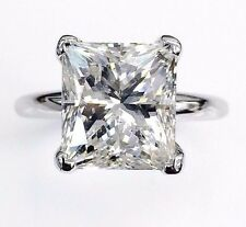 Stunning 5.29 Carats Diamond Solitaire Ring Princess Cut G-H Color EGLUS 14KGold