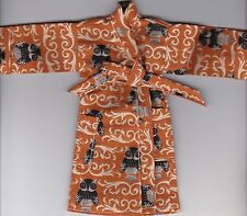 Owls Print Robe Fits Ken/Barbie and Elf Doll-Homemade R1