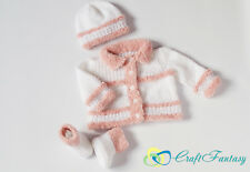 New Hand Knitted Baby Cardigan Hat and Shoes Fur Trim Set 0-6 months