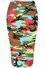 Womens Ladies Elastic Waist Pencil Tube Jersey Dogtooth Floral Tartan Midi Skirt