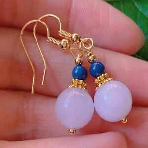 Fashion purple round chalcedony lapis lazuli bead gold earrings Christmas