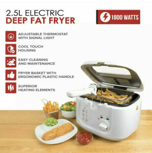 SMALL KITCHEN DEEP FAT FRYER & BASKET FISH & CHIPS FRYING - WHITE 2.5L