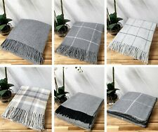 Grey Luxury Lambswool Throw Blanket Check Plain Waffle Co-ordinating Designs