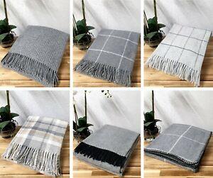 Grey Luxury Lambswool Throw Blanket Check Plain Waffle Co-ordinating Designs
