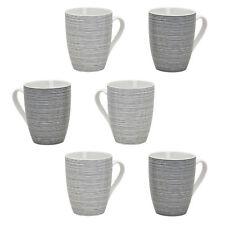 6er Set Tassen Gestreift Porzellan Kaffeetasse Kaffeebecher Grau Weiß 300 ml
