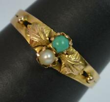 French Victorian 18ct Gold Turquoise and Pearl Stack Ring t0321