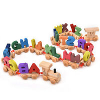 Wooden Train Set Alphabet Wood Letters w Wheels Kids Toddler Educational Toy TO