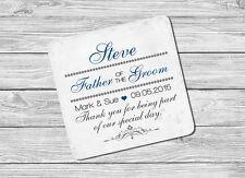 Personalised Father of the Groom Name & Date Drink Coaster Mat Wedding Day Gift